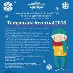 Emite Protección Civil de Calvillo recomendaciones para la Temporada Invernal 2018