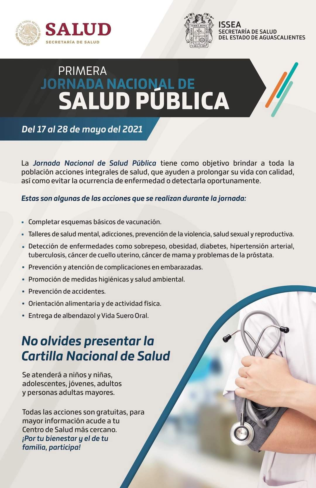🩺💊Primera Jornada Nacional de Salud Pública. Del 17 al 28 de mayo